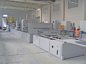 Pultrusion machines used to manufacturer FRP pultruded products at Liberty Pultrusions manufacturing.